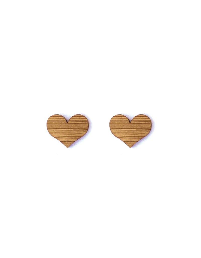 Cabin + Cub Bamboo Wood Earrings - Heart