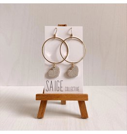 Saige Collective Amour Hoops - Micro Nude Aztec Clay Earrings