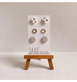 Saige Collective Nadia Stud Pack - Leopard, Nude Aztec Clay Earrings
