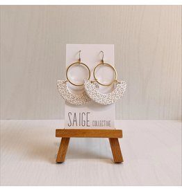 Saige Collective Osiris - White Leopard Clay Earrings