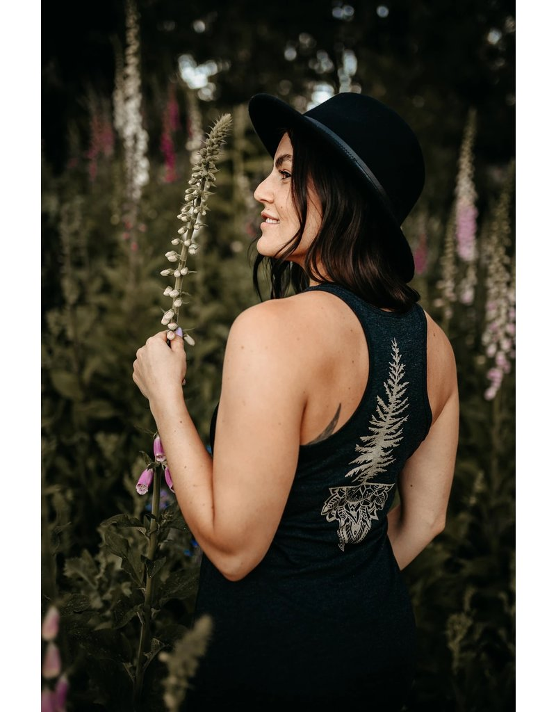 West Coast Karma Gold Fern & Tree Mandala Dress in Vintage Black