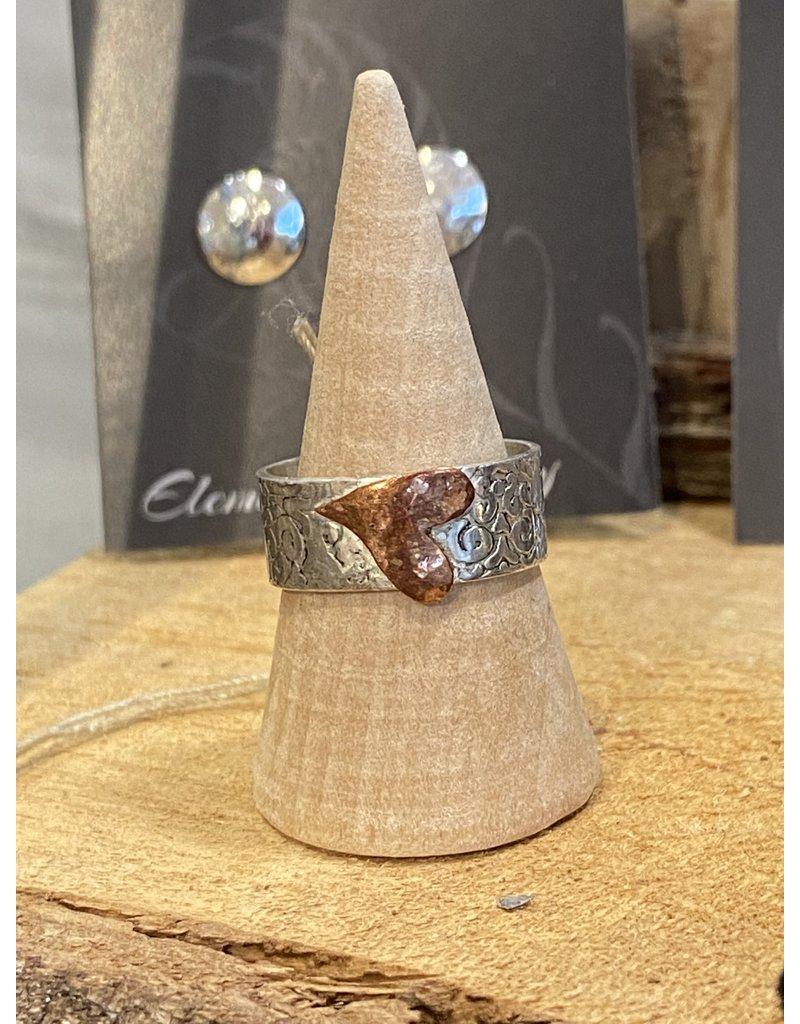 Blackbird Silversmith Copper Heart Wrap Ring