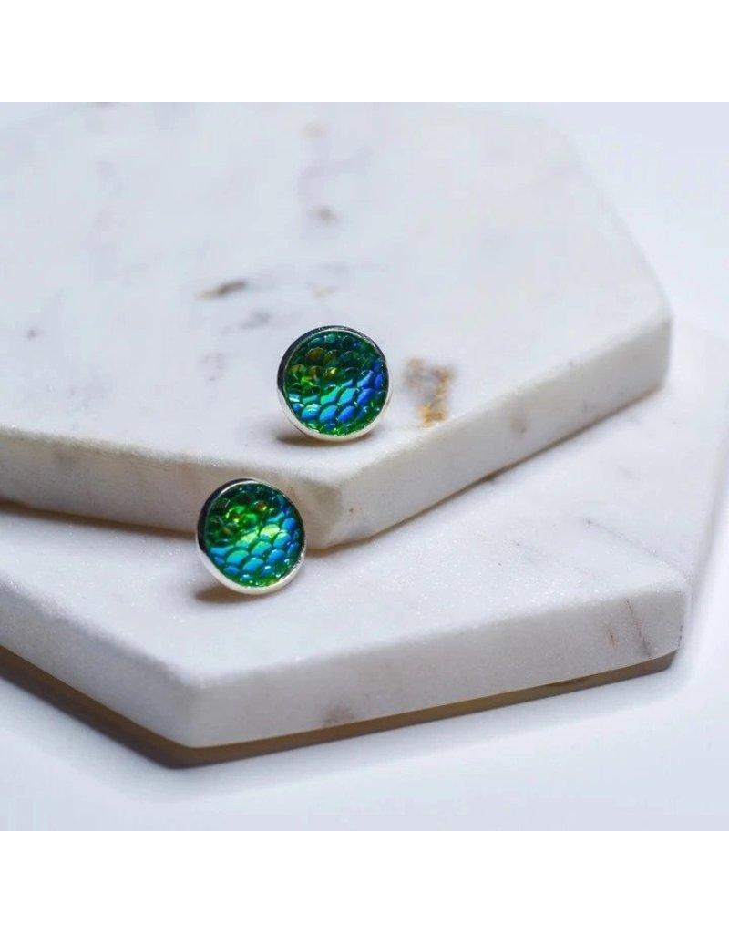 Whimsy's Jewels Green Mermaid Scale Earings