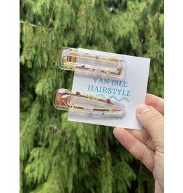 Van Isle Hairstyle Purple Floral Hair Clip (2 pack)