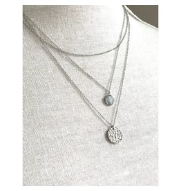 Royce & Oak Three Layered Necklace- Silver