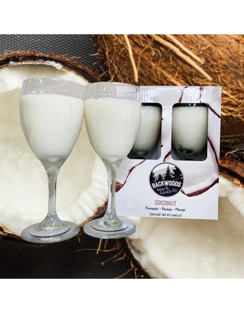 Backwoods Soap & Co Coconut Wine Glass Set