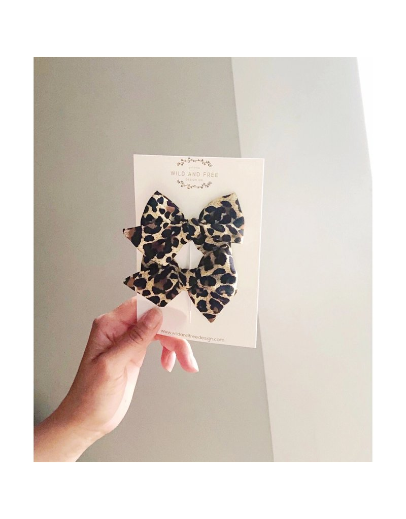 Wild and Free Design Co. Leopard Pigtail Bow Set