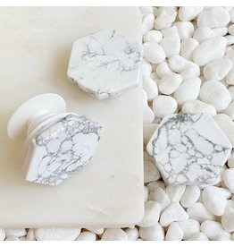 Ellison + Young Hexagon White Marble Phone Grip
