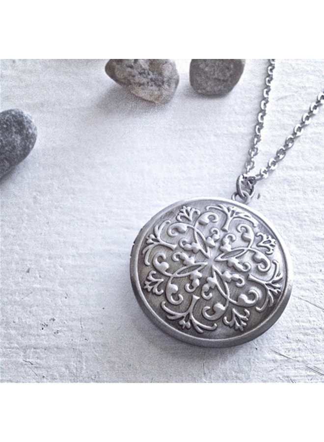 Medallion Antique Silver Locket Necklace