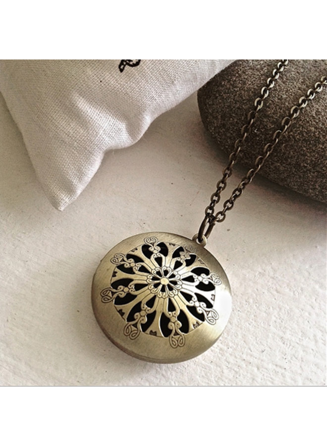 Antique Brass Locket Necklace