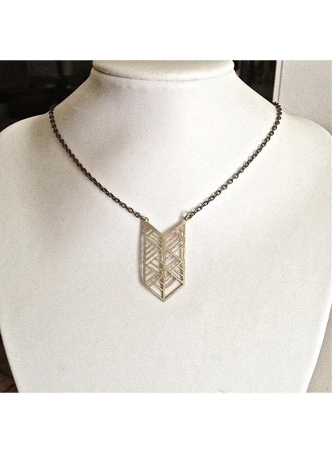 Geometric Pattern Statement Necklace