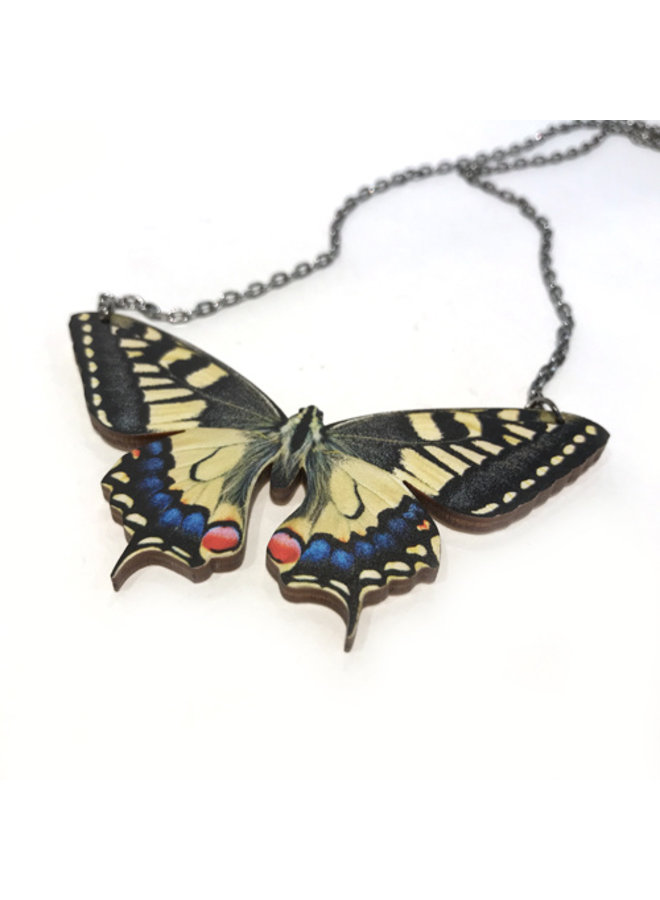 Wood Butterfly Necklace