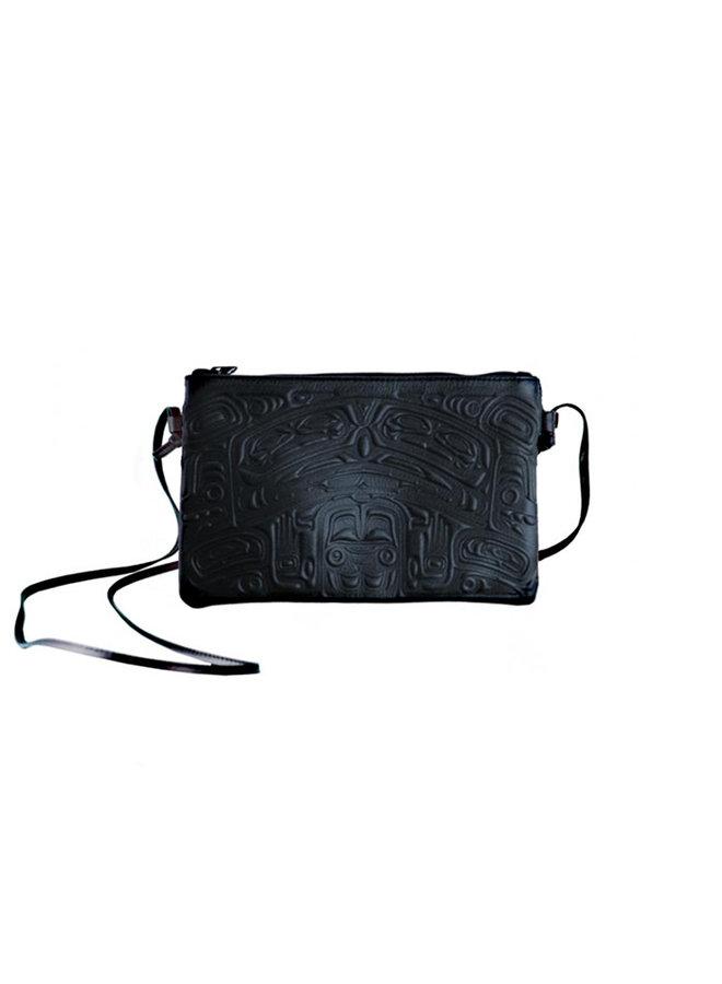 Black Crossbody bag with Bear Box Design