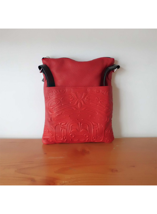 Embossed Leather Solo Bag with Bear Box design
