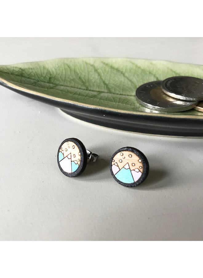Hand Painted Wood Stud Earrings