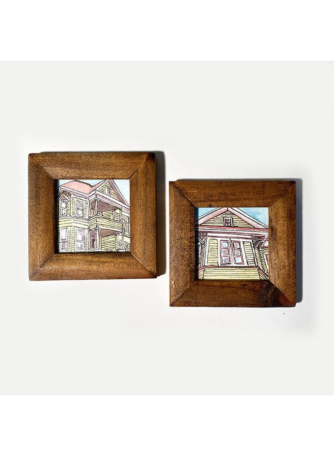 "Original 2"" x 2"" Framed Sketches (set of 2)"