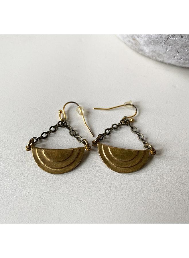 Brass Art Deco Drop Earrings