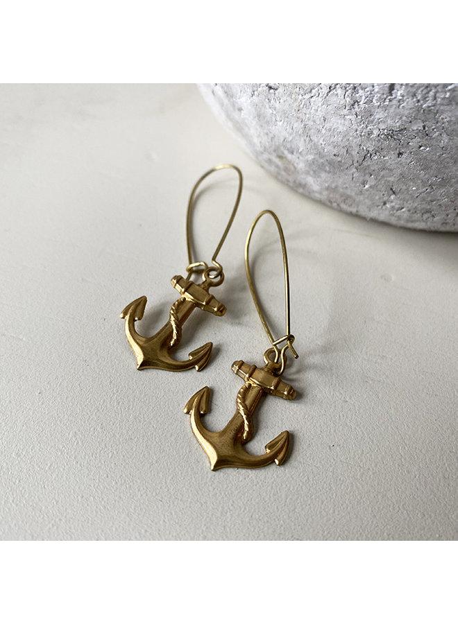 Brass Anchor Earrings