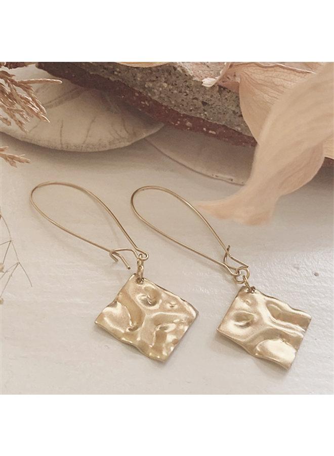 Brass Hammered Diamond Drop Earrings