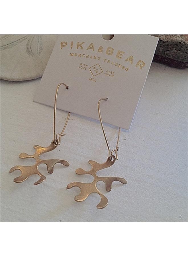 Brass Coral Earrings
