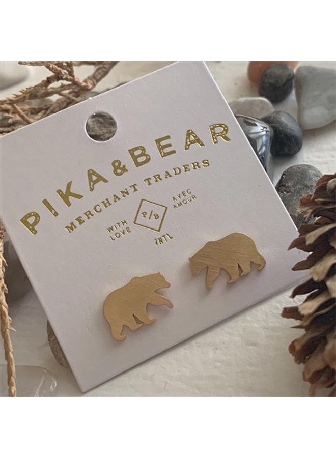 Gold Bear Stud Earrings