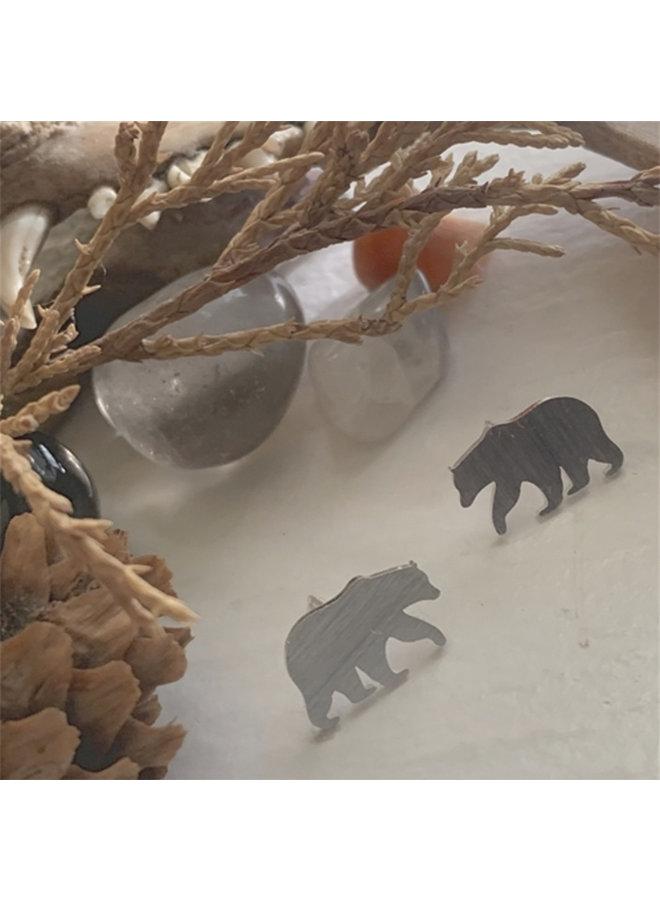 Silver Bear Stud Earrings
