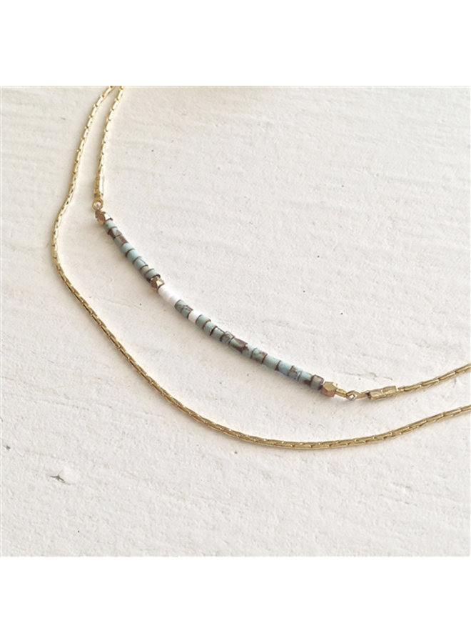 Double Strand Necklace with Stones
