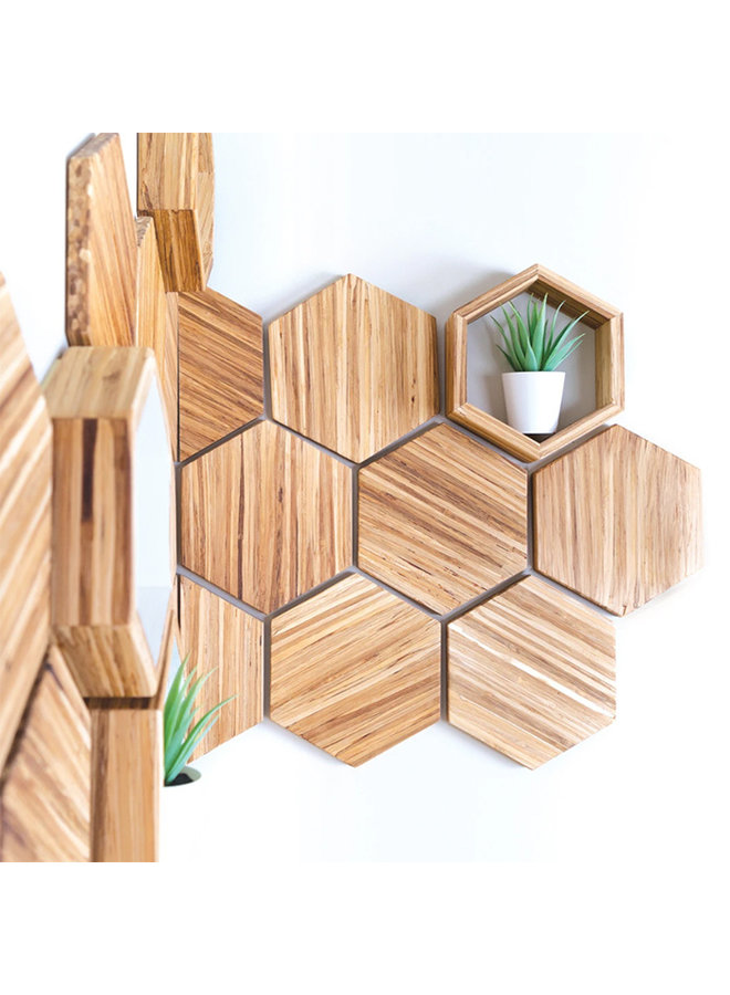 Recycled Chopstick Hex Wall Decor Set (Set of 9)