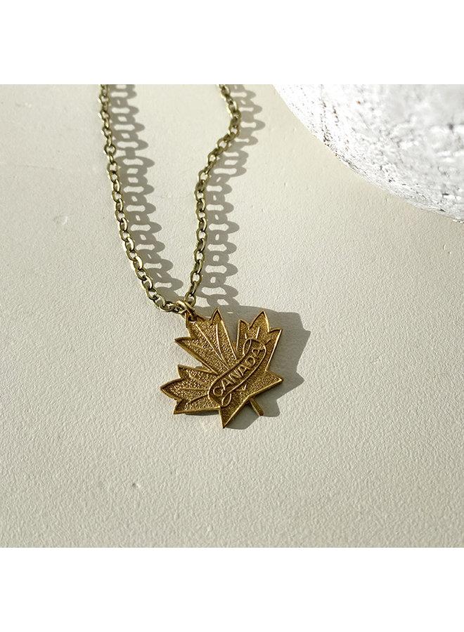 Vintage Brass Maple Leaf Necklace