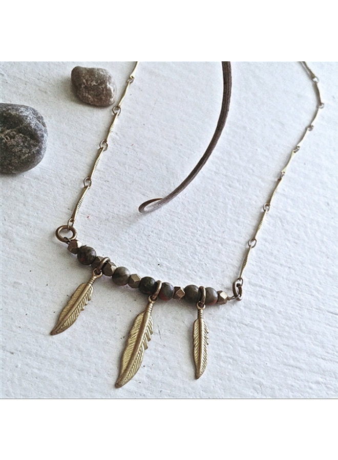 Tiny Brass Feather and Bead Necklace