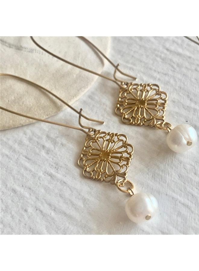 Baroque Style Brass Drop Earrings