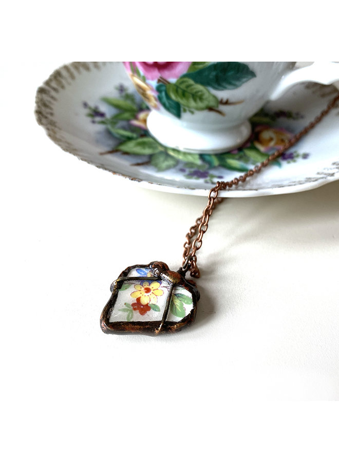 Recycled Tea Cup Heart Necklace