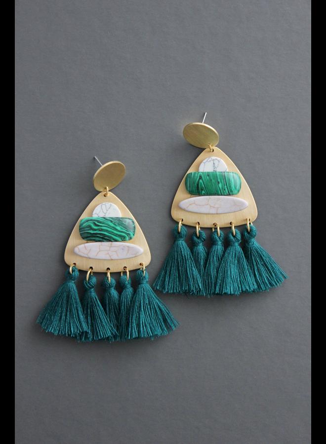 Brass & Green Tassle Earring