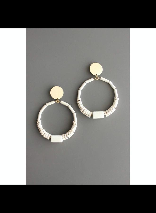 Brass & White Hoop Earring