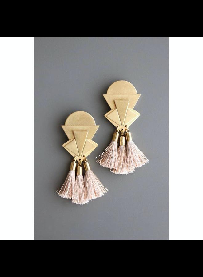 Brass & Nude Tassle Dangle Earring