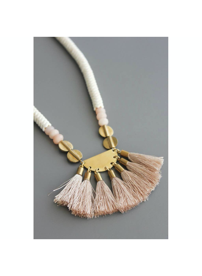 Brass/White/Nude Long Necklace