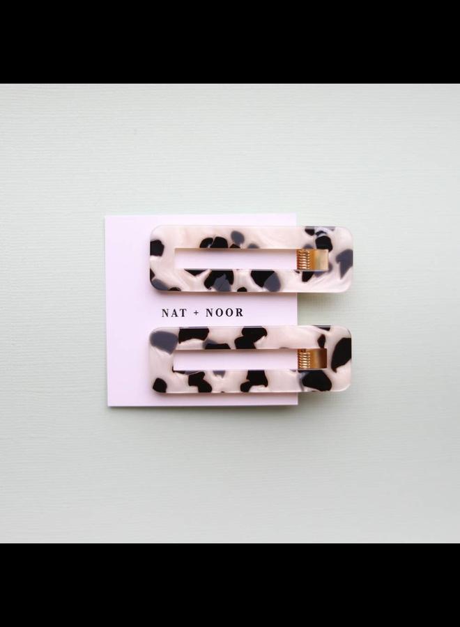 Black & White Tortoise Hair Clip Set