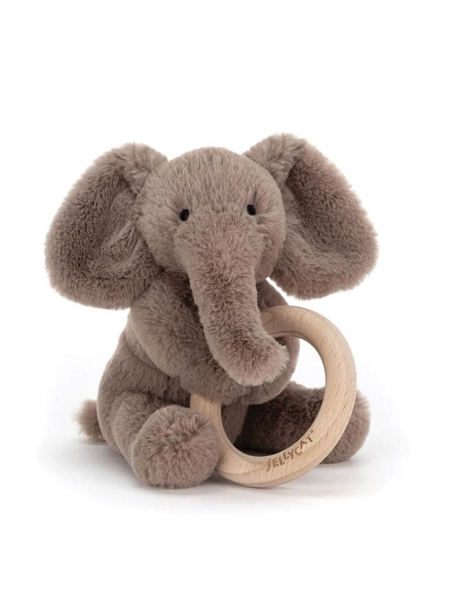 Smudge Elephant Wood Ring Toy