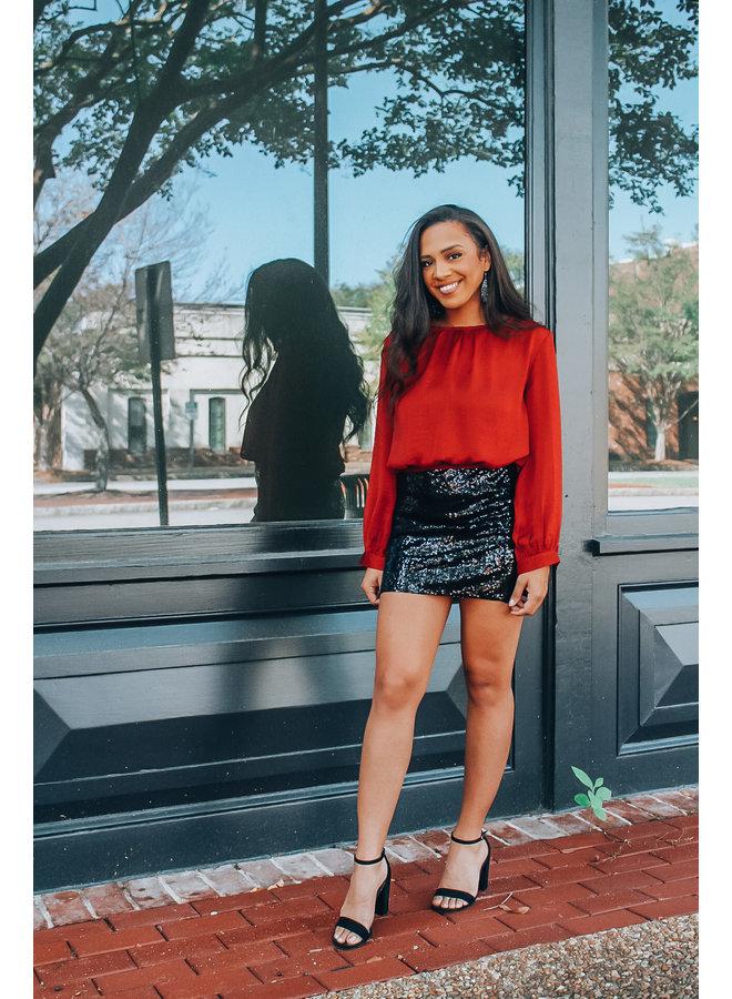 Black Sequin Mini Skirt
