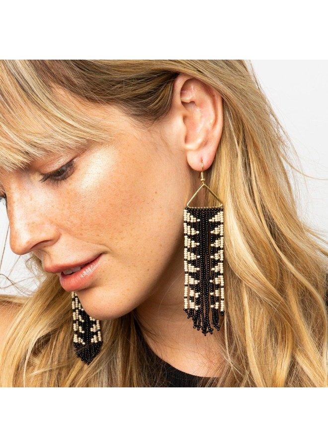 Diagonal Stripe on Fringe Earring