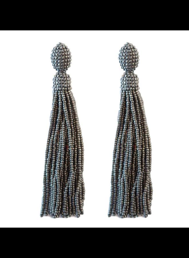 Seed Bead Silver Tassel Earring