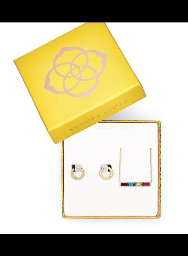 Gift Set Jack Pendant and Hug Gold Jewel Tone Mix