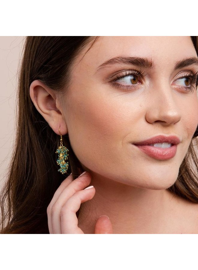 Glass and Brass Drop Earring