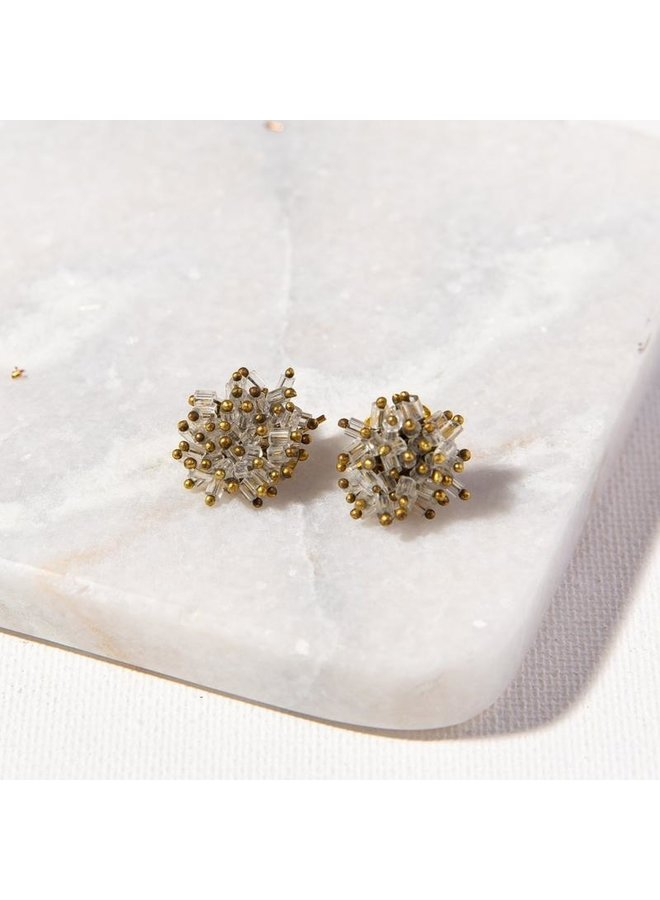 Glass and Brass Cluster Stud
