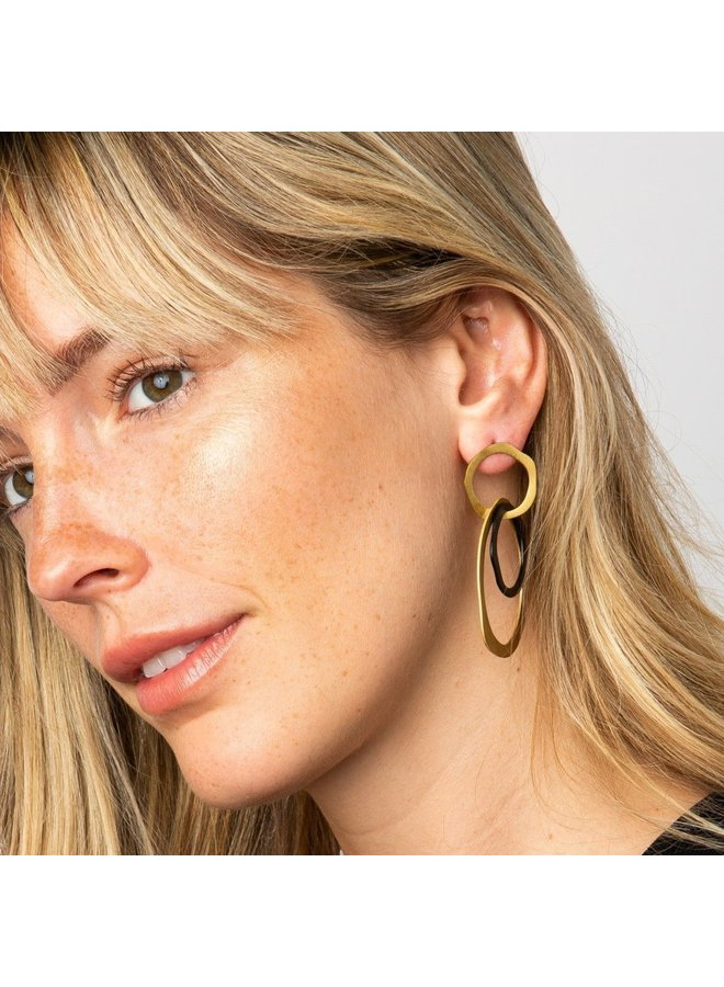 Black and Brass Triple Organic Earring