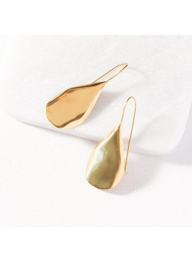 Small Organic Drop Brass Earring