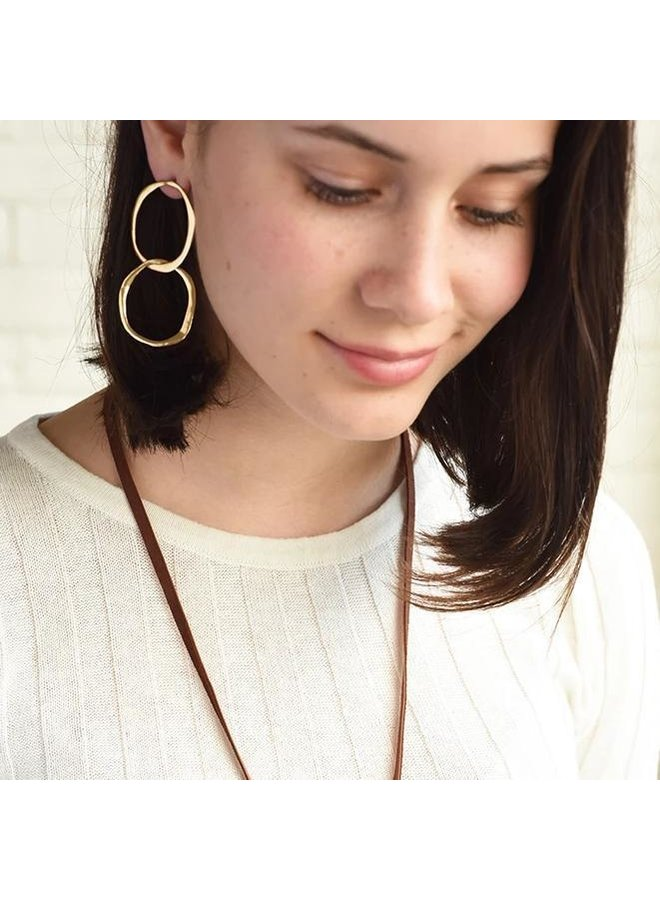 Double Circle Gold Earring