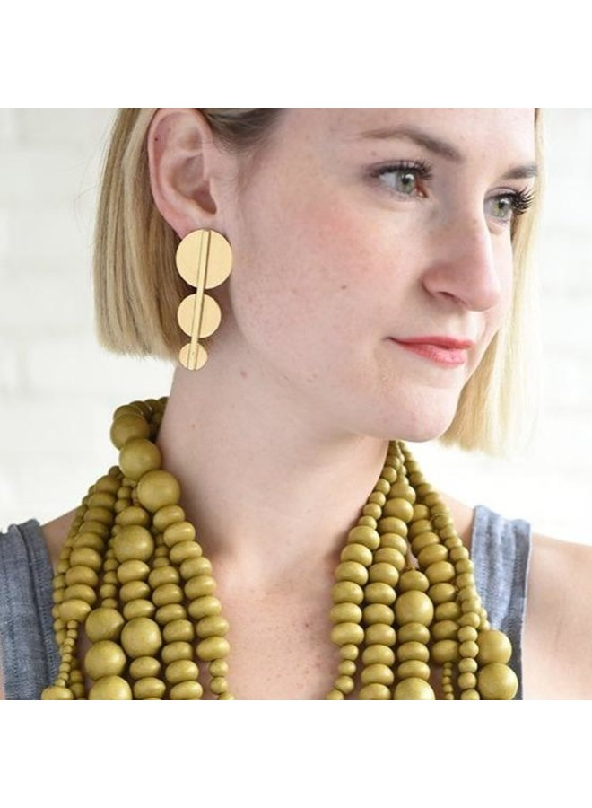 Brass Bar and Circles Earring