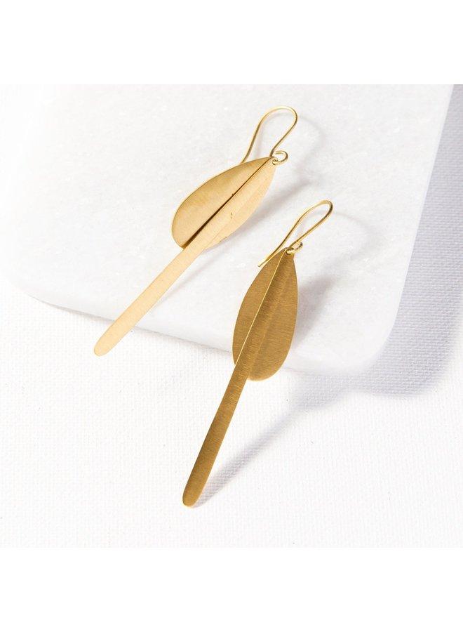 Matte Brass Drop Dangle Earring