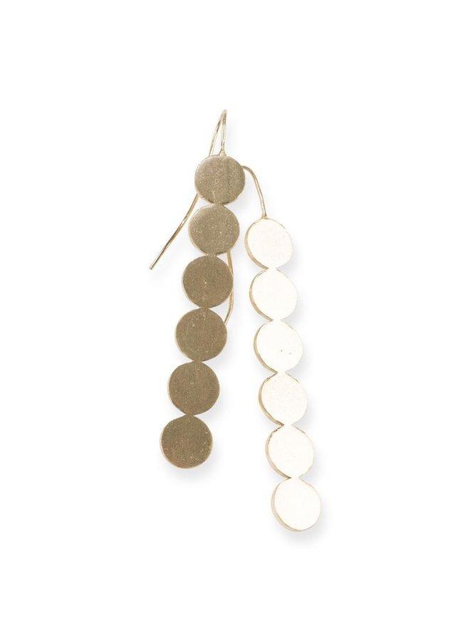 Brass Line of Circles Earrings